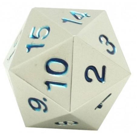 Dé compteur 20 faces en métal argenté chiffres bleus 22 mm