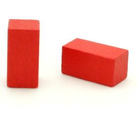 Pion rectangle rouge 10x10x20 mm en bois pour jeu