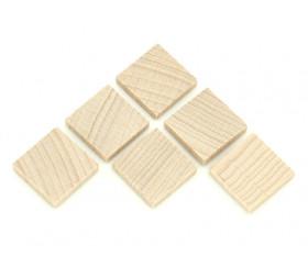 Carré plat 20x20x4 mm en bois naturel pour jeux 2 cm de côté