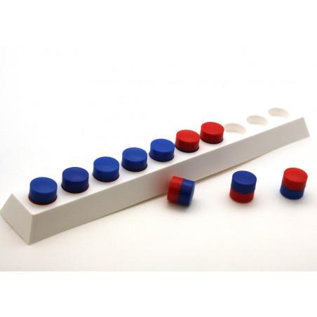 Bande base 10 : pions enstrables recto-verso rouge et bleu