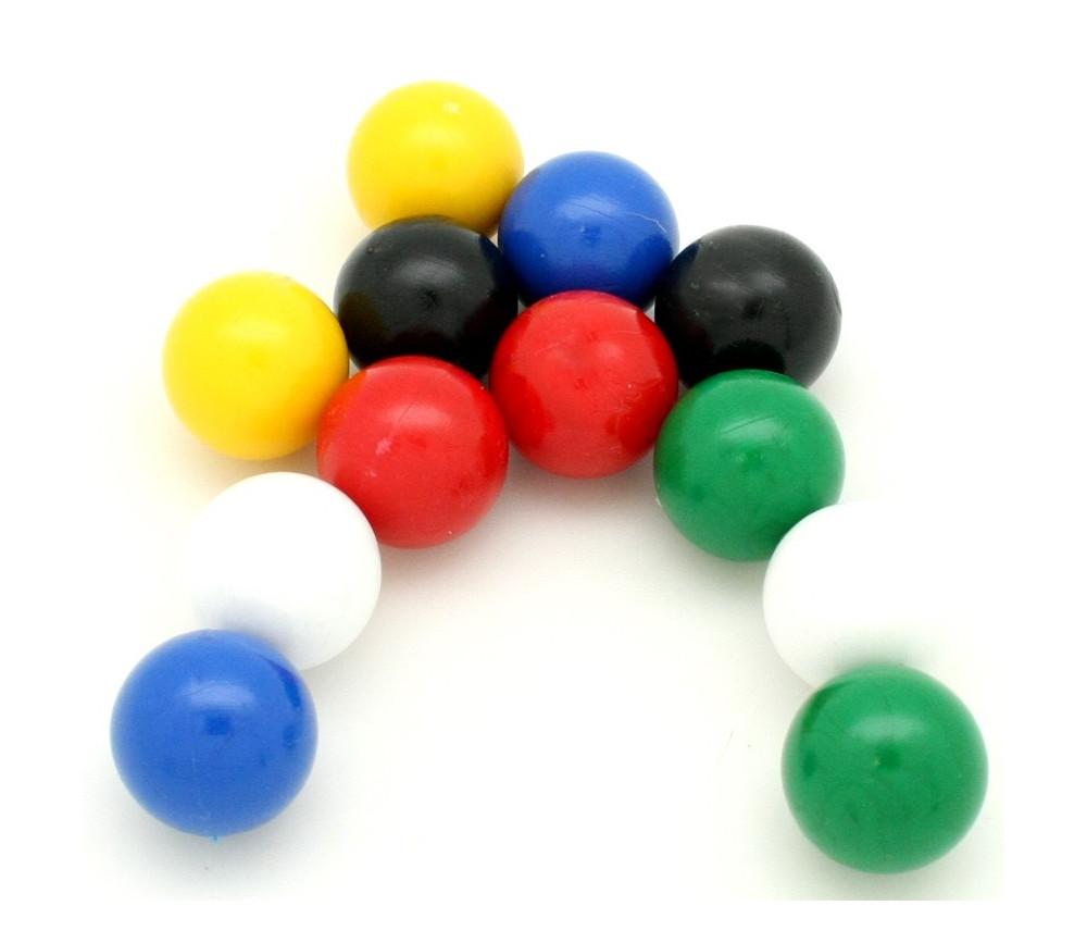 Lot 4 boules plastique 19 mm diamètre en 4 couleurs - billes