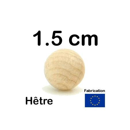 Boule 1.5 cm en bois 15 mm hêtre