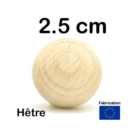Boule bois 25 mm diamètre bille hêtre