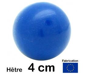 Boule bois couleur bleu 40 mm diamètre bille hetre