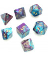 Set 7 dés multifaces effet mixé turquoise  violet chiffres en doré