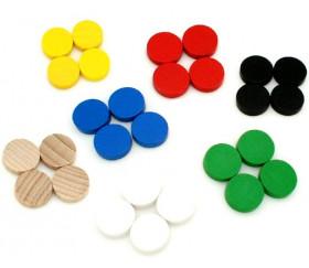 Mini jetons bois 10 x 4 mm lot 20 pour jeux