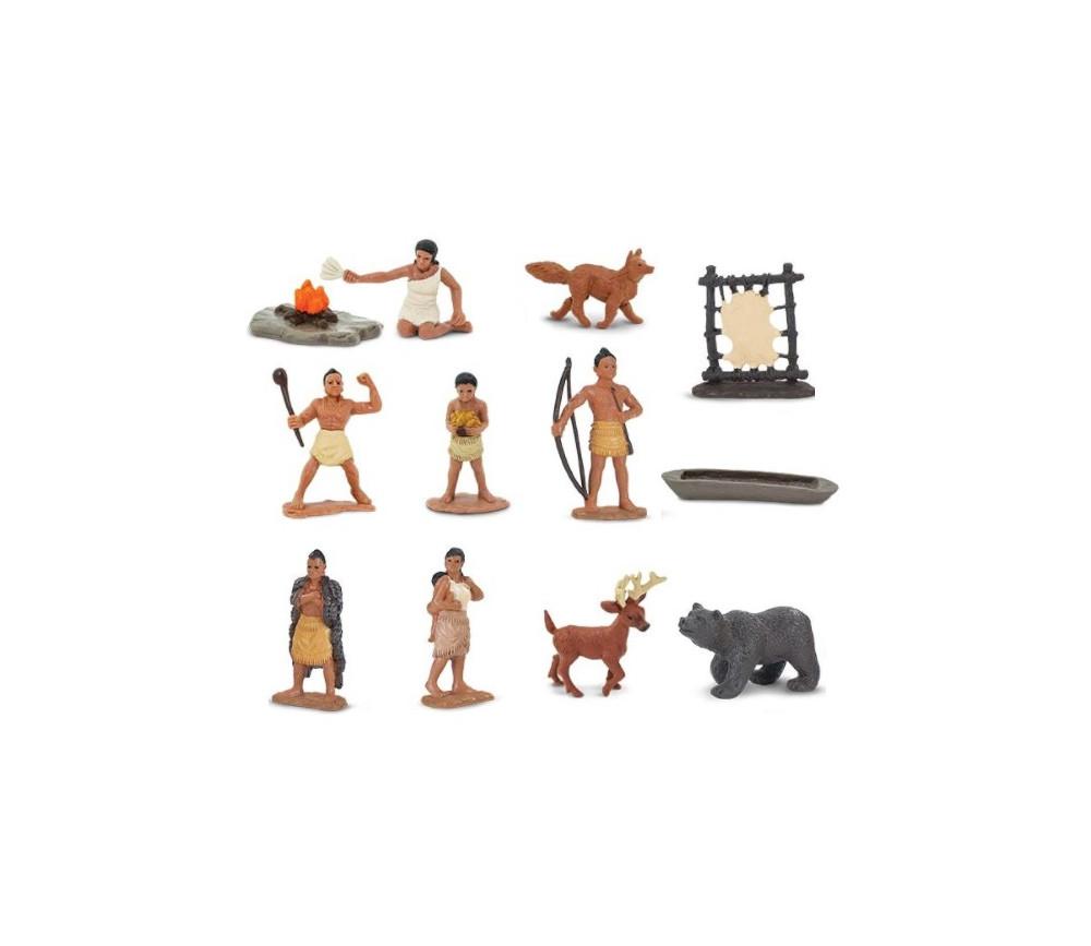 Indiens Powhatans : 12 figurines de jeu