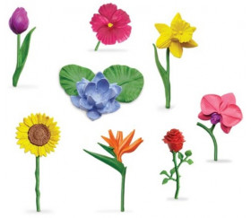 8 fleurs figurines d'environ 5 cm