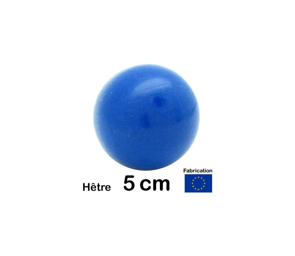 Boule bois couleur bleu 50 mm diamètre bille hetre