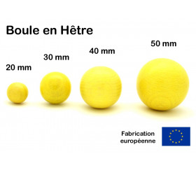 Boule bois jaune 50 mm diamètre bille hetre