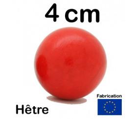 Boule bois couleur rouge 40 mm diamètre bille hetre 4 cm