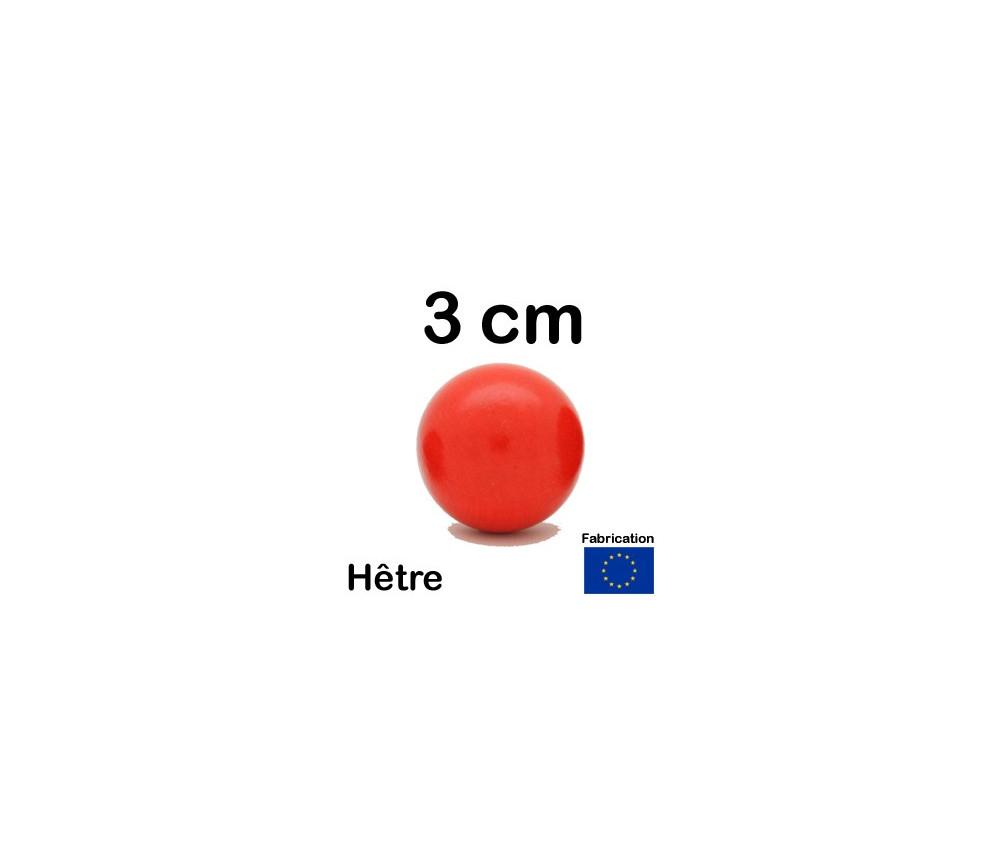 Boule bois rouge 30 mm diamètre bille hêtre