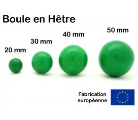 Boule bois couleur verte 30 mm diamètre bille hetre