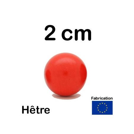 Boule 20 mm rouge bois hêtre