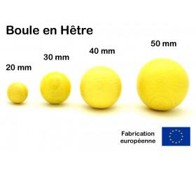 Boule 20 mm jaune bois hêtre