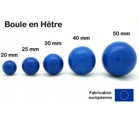 Boule bois 30 mm bleu