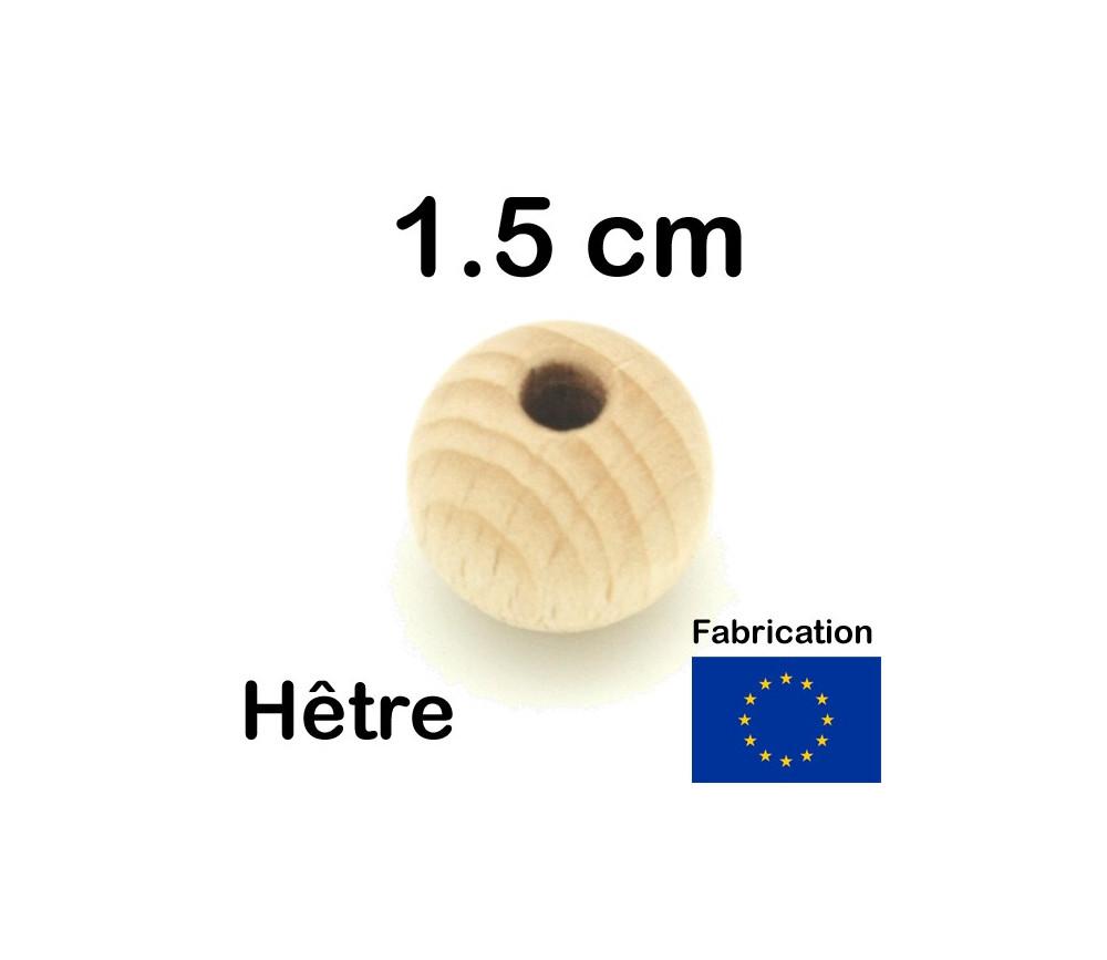 Boule 1.5 cm trouée en bois 15 mm hêtre trou de 4 mm