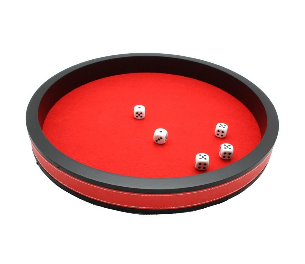 Piste de dés rouge et noir de 34 cm avec 5 dés