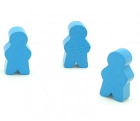 Pions personnage bleu en bois bonhomme meeple