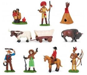 Indiens et cow-boys : 11 figurines de jeu