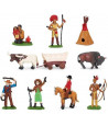 Indiens et cow-boys : 11 figurines de jeu