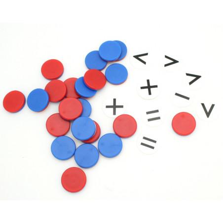 22 Pions bicolores + 10 pions signes mathématiques