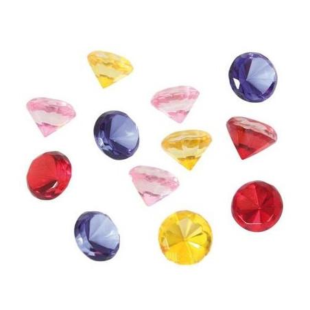12 diamants colorés 2 cm pions imitation gem