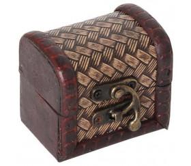 Mini coffre bois décoré 7 x 5.5 x 6 cm pour trésor