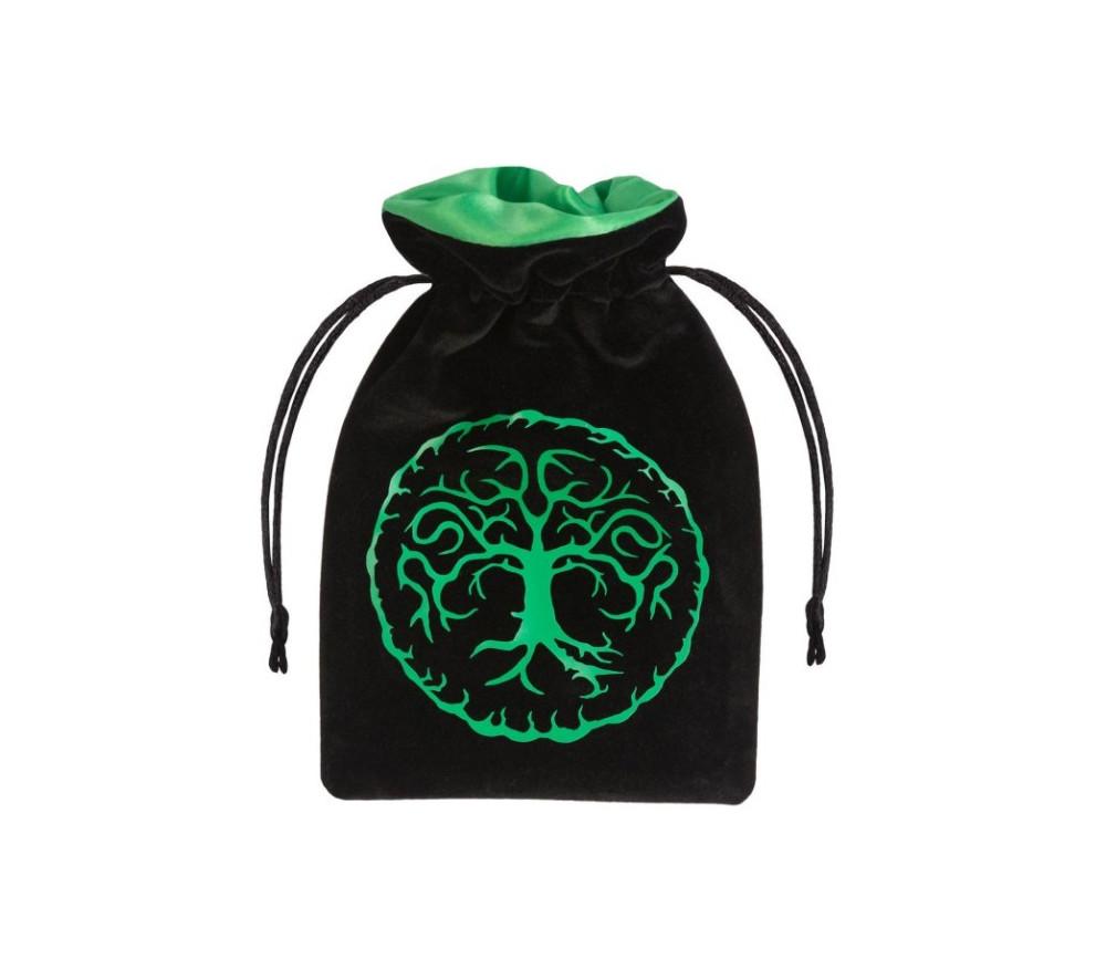 Bourse Sac Forest 15x10 cm motif arbre noir et vert