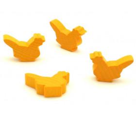 Pion poule jaune or en bois 30 x 19 x 8 mm