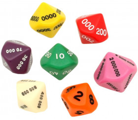 7 dés math valeurs : unité, dizaine, centaine, millier, million 10 faces