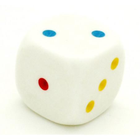 Dé à jouer points 123 rouge bleu jaune 20 mm