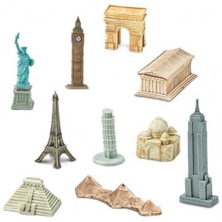 10 monuments du monde figurines jouet miniature