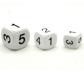 Dé à jouer chiffres 123456 16 mm de côté blanc