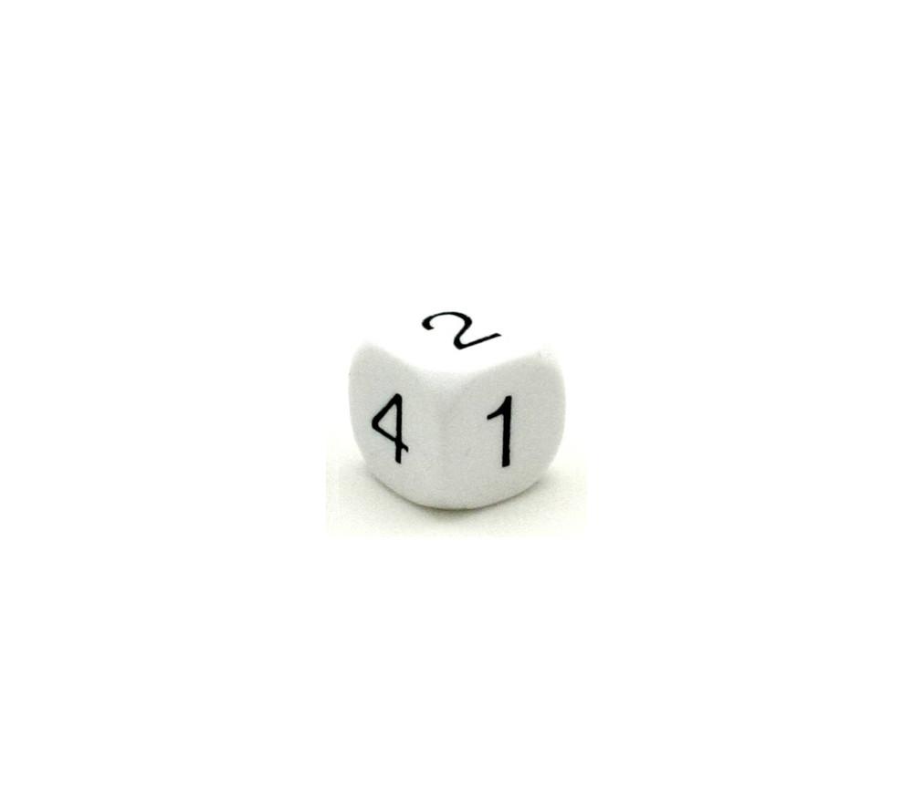 Dé à jouer chiffres 1 à 6 16 mm de côté blanc