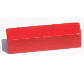 Bâtonnet buchette rouge 10x10x40 mm en bois pour jeu