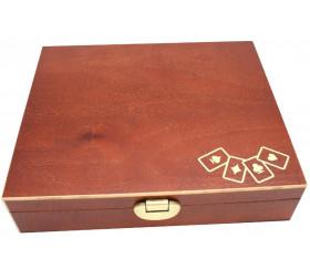 Coffret jeu Belote  en bois : 90 jetons nacrés + jeu de cartes