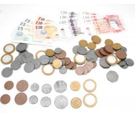 84 pièces et billets argent UK - LIVRES sterling anglais monnaie factice