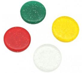 Jeton pailleté jaune translucide 25 x 5 mm galets