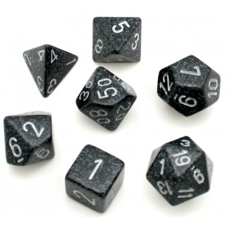 Set 7 dés multi-faces Ninja noir gris
