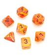 7 dés multifaces Vortex orange