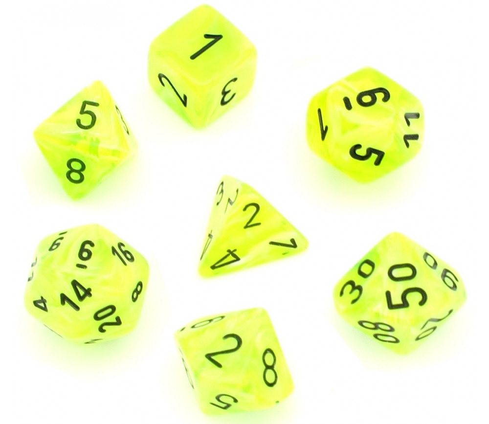 7 dés multifaces Vortex vert jaune brillant
