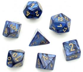 Set 7 dés multi-faces SCARAB bleu royal