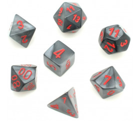 Set 7 dés multi-faces Velvet noir gris avec chiffres rouges