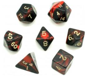 Set 7 dés multi-faces marbrés rouge/noir