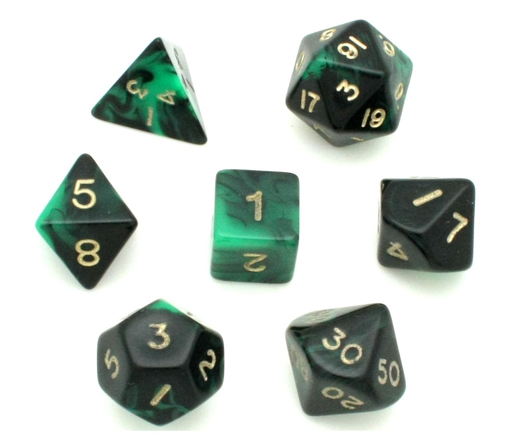 Set 7 dés multi-faces marbrés vert/noir