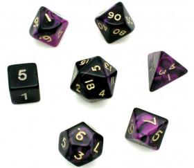 Set 7 dés multi-faces marbrés violet/noir