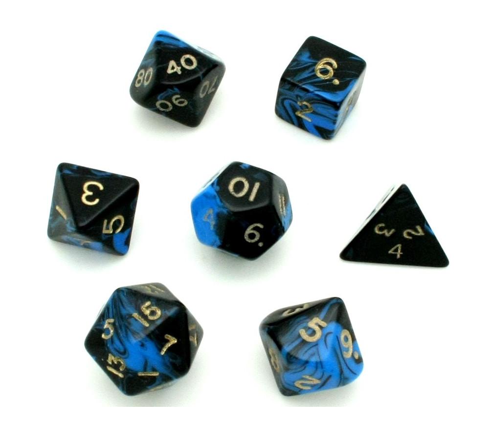 Set 7 dés multi-faces marbrés bleu/noir
