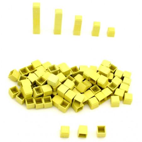 100 Cubes unités 1 cm jaunes emboitables en plastique