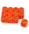 Dé orange en bois 16 mm de 1 à 6 pour jeu de société